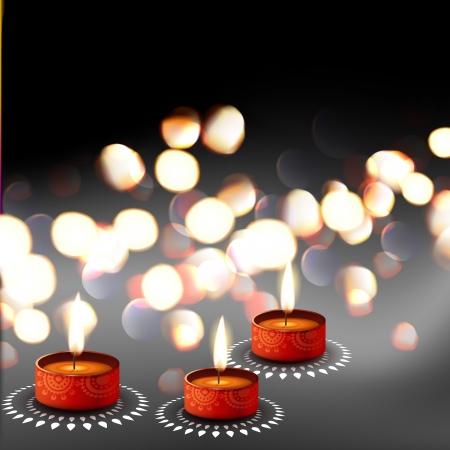 diya: elegante festival de Diwali Diya fondo Vectores