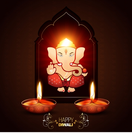 indian god ganesha on beautiful background Vector