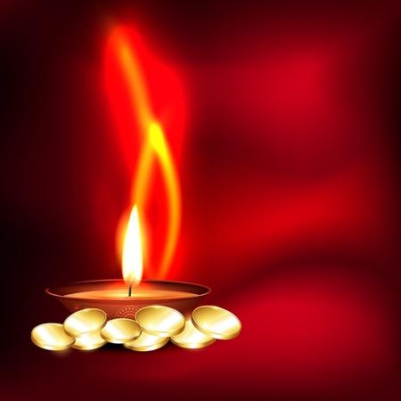 indian light: vector indian festival de diwali fondo de monedas de oro