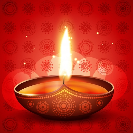 beautiful diwali diya on artistic red background Vector