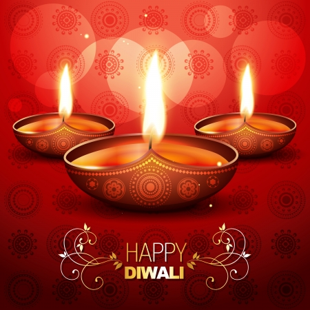 beautiful shiny diwali diya placed on artistic red background Vector