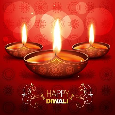 indian light: hermoso brillante diwali diya colocado sobre fondo rojo art�stico Vectores