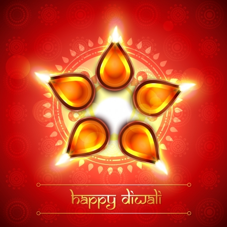 deepawali: shiny artistic glowing diya illustration