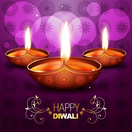 diwali celebration: beautiful shiny diya on purple background