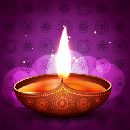 stylish diya on artistic purple background Vector