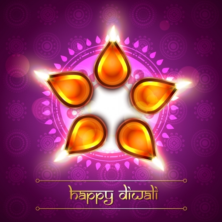 beautiful artistic diya on background Vector