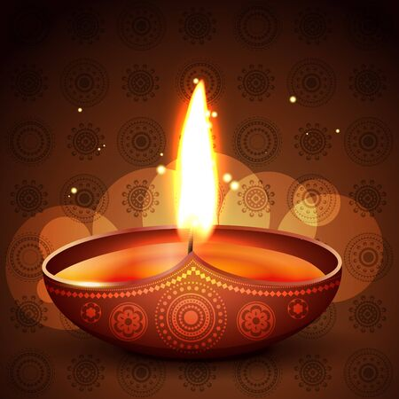 beautiful diya placed on artistic background Vector