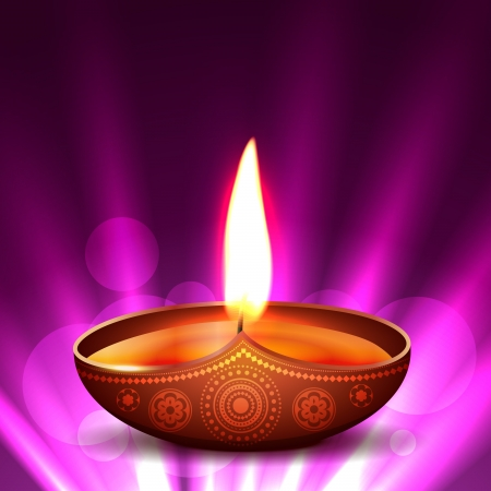 deepawali: beautiful diwali diya placed on glowing background