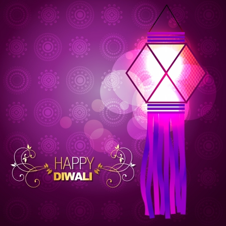diwali celebration: beautiful glowing lamp background illustration Illustration