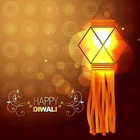 beautiful glowing lamp diwali festival background Stock Vector - 15656073