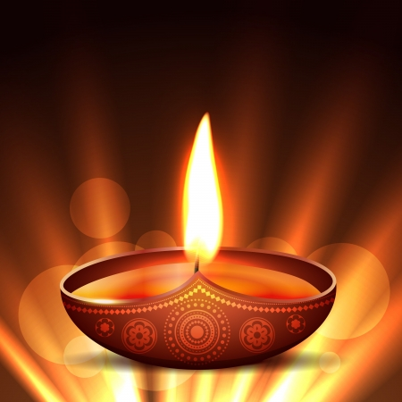 beautiful diwali diya placed on glowing background Vector
