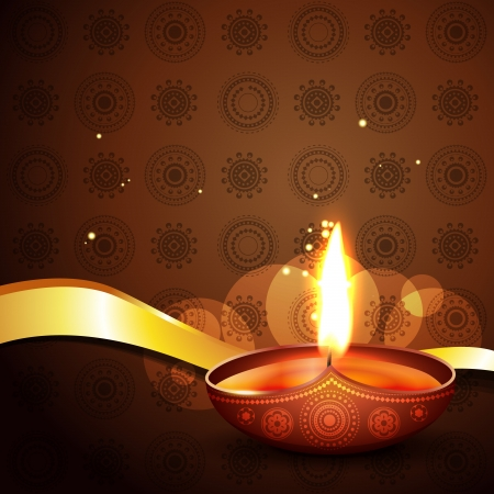 happy diwali diya background illustration Vector