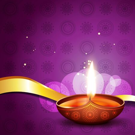 hindu festival diwali diya on artistic background Vector