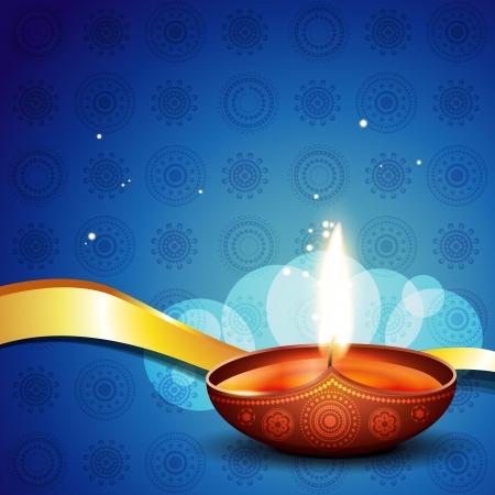 indian light: diya con estilo en la ilustraci�n de fondo art�stico Vectores