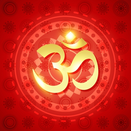 beautiful shiny om sign on red background Vector
