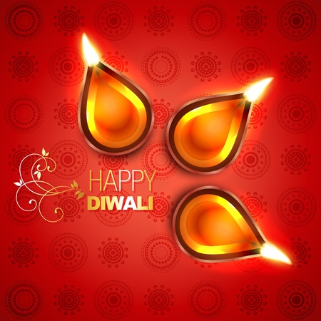 diwali celebration: beautiful diya background illustration Illustration