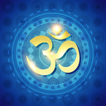 deepawali: shiny golden om text on blue background