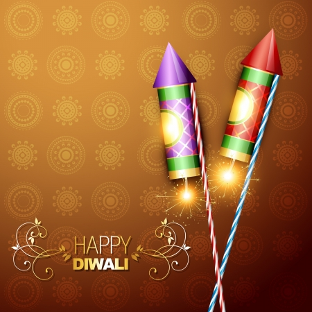 stylish diwali festival cracker rocket on artistic background Vector
