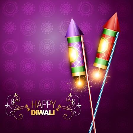 petardo: diwali festival de galleta cohete en fondo art�stico Vectores