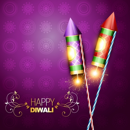 diwali festival rocket cracker on artistic background Vector