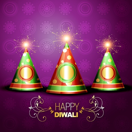 shiny diwali festival crackers on artistic background Vector