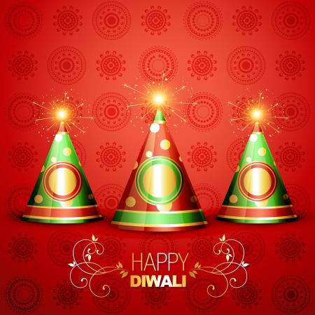 shiny diwali crackers on artistic background Stock Vector - 15656104