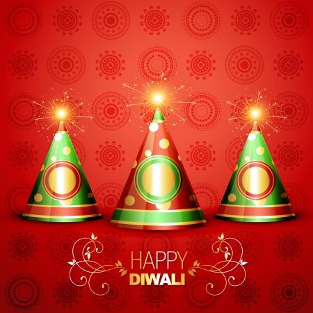 shiny diwali crackers on artistic background Illustration