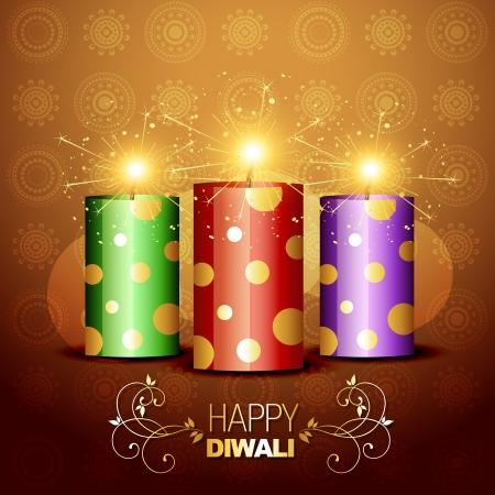 petardo: diwali crackers con estilo brillante ilustraci�n de fondo Vectores