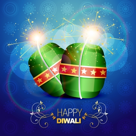 diwali festival crackers on artistic background Vector