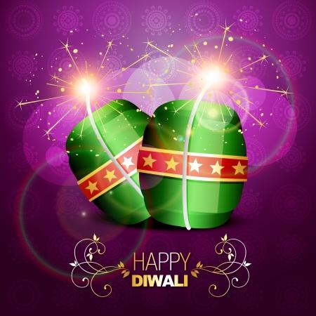 deepawali: diwali crackers brillantes sobre fondo art�stico Vectores