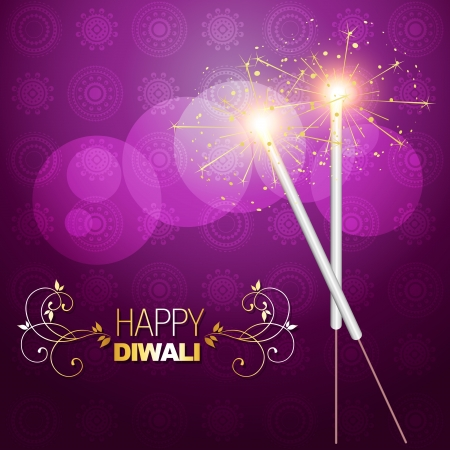 deepawali: beautiful diwali crackers background design illustration Illustration