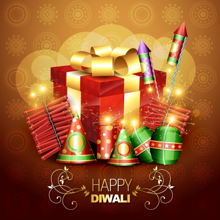 beautiful diwali crackers background design illustration Stock Vector - 15656241