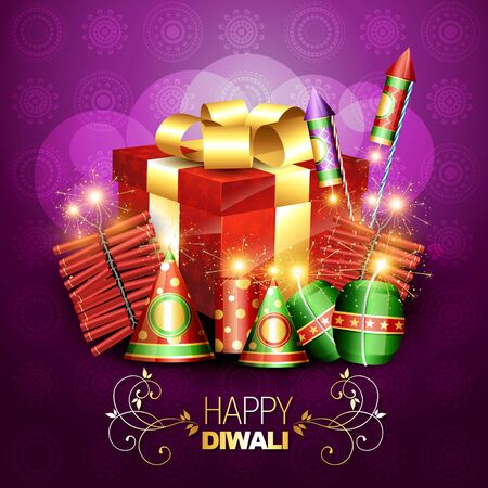 stylish diwali crackers with gift box design illustration Vector