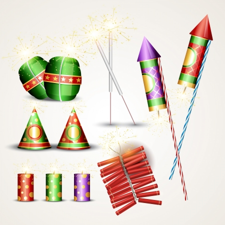 set of diwali crackers designs Vector