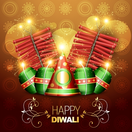 set of vector diwali crackers illustration Vector