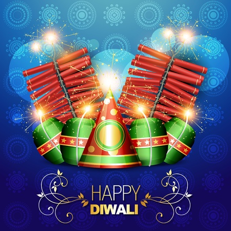 vector diwali crackers background illustration Vector