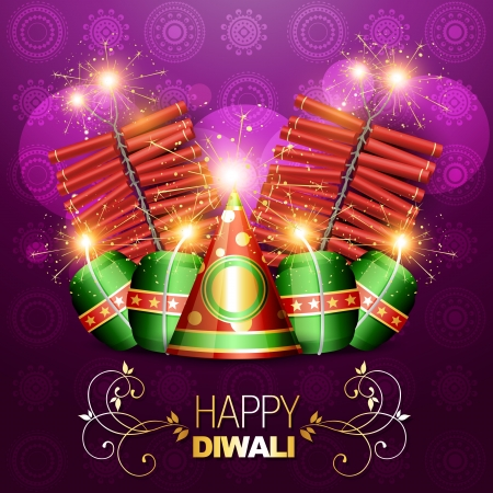 vector set of diwali crackers background Vector