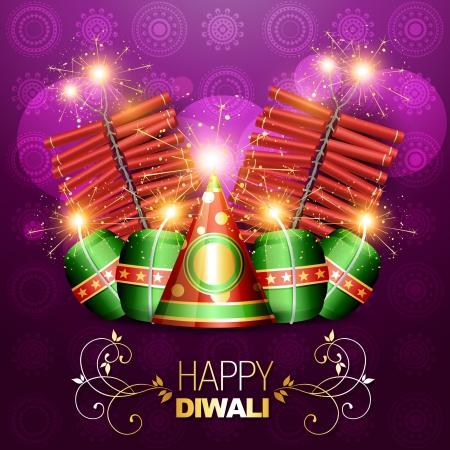 crackers: vector set of diwali crackers background