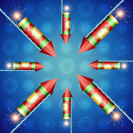 beautiful illustration of diwali crackers Vector