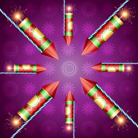 vector diwali crackers on artistic background Vector