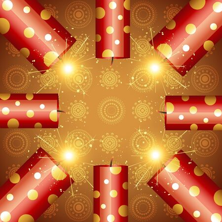 stylish background of diwali crackers Vector