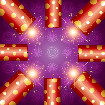 shiny diwali crackers on artistic background Vector