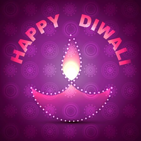 shiny diwali diya on purple background Vector