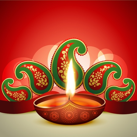 beautiful vector diwali diya illustration Stock Vector - 15656171