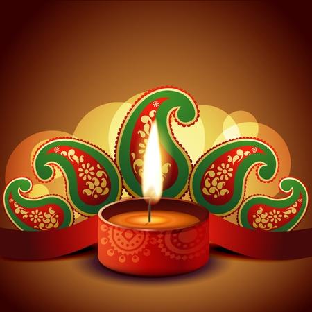 diya: beautiful diwali diya on artistic background Illustration