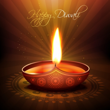 beautiful diwali diya backgorund Vector