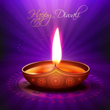 diwali greeting: beautiful glowing diwali diya background Illustration