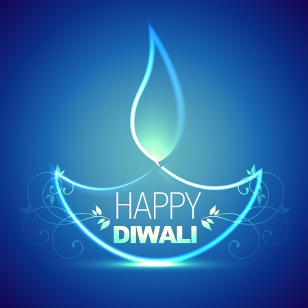 beautiful artistic diwali diya design Vector