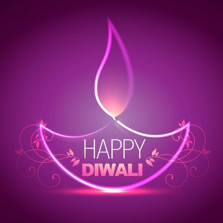 beautiful shiny diwali diya background Vector
