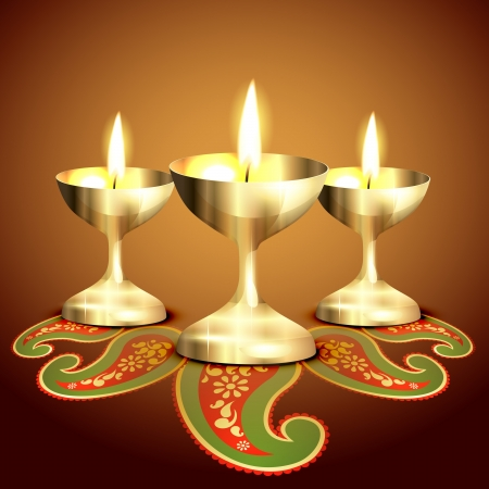 golden indian worship lamp illustration Vector